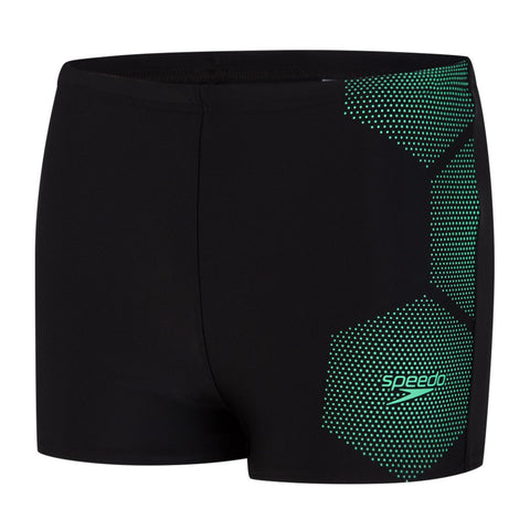 Speedo Tech Placement Aquashort Boys Black/Green Glow
