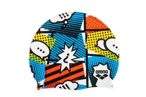 Arena Print 2 Touch Cap Cheerfully White - clickswim.co.nz