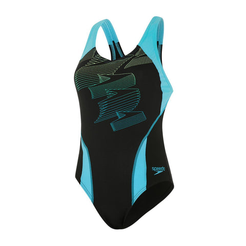 Speedo Boom Placement Racerback Womens Swimsuit Black/Aqua Splash/Bright Zest - clickswim.co.nz