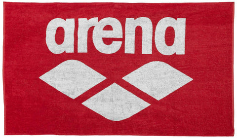 Arena Pool Soft Towel Red White - clickswim.co.nz