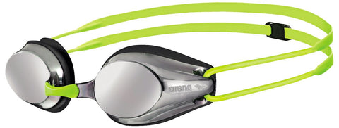 Arena Junior Racing Goggles Tracks Mirror Silver/Black/Fluoyellow - clickswim.co.nz
