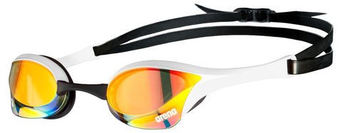 Arena Cobra Ultra Swipe Mirror Goggles Yellow Copper White - clickswim.co.nz