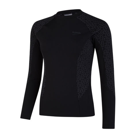 Speedo Boomstar Allover Long Sleeve Rash Top Womens Black/Oxid Grey