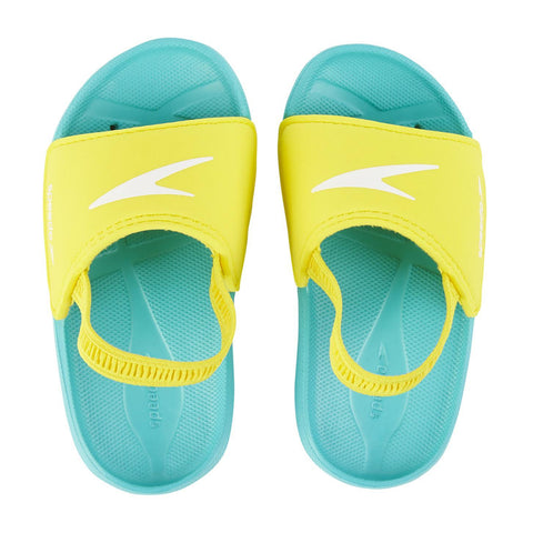 Speedo Infant Unisex Footwear Atami Sea Squad Slide Infant Blue/Yellow - clickswim.co.nz