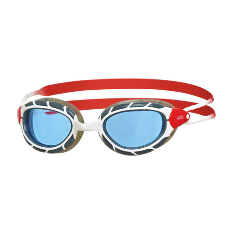 Predator Adult Goggles White/Red/Tint - clickswim.co.nz