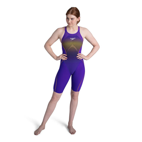 Speedo Fastskin LZR Pure Intent Closedback Kneeskin Womens Violet/Yellow/Black/Gold
