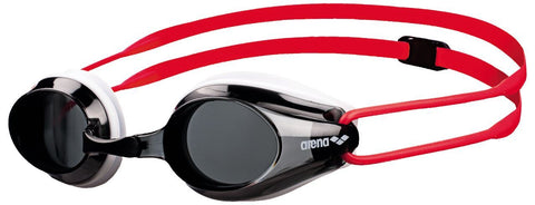 Arena Junior Racing Goggles Tracks Smoke/White/Red - clickswim.co.nz
