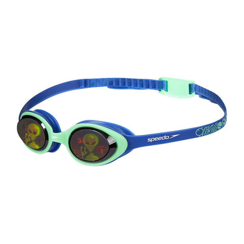 Speedo Junior Boys Goggles Illusion 3D Printed Aqua/Blue - clickswim.co.nz