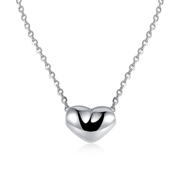 18K White Gold Plated Simple Heart Necklace