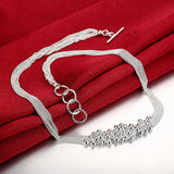 18K White Gold Plated Bubble Necklace