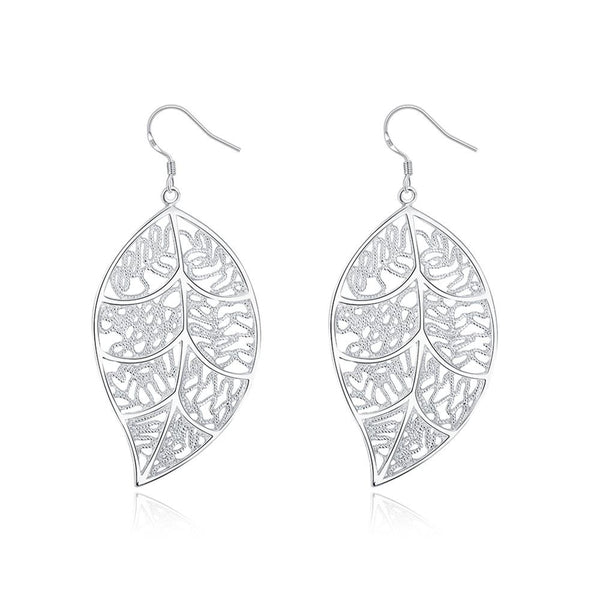 White Gold Plated Filigree Leaf Earrings