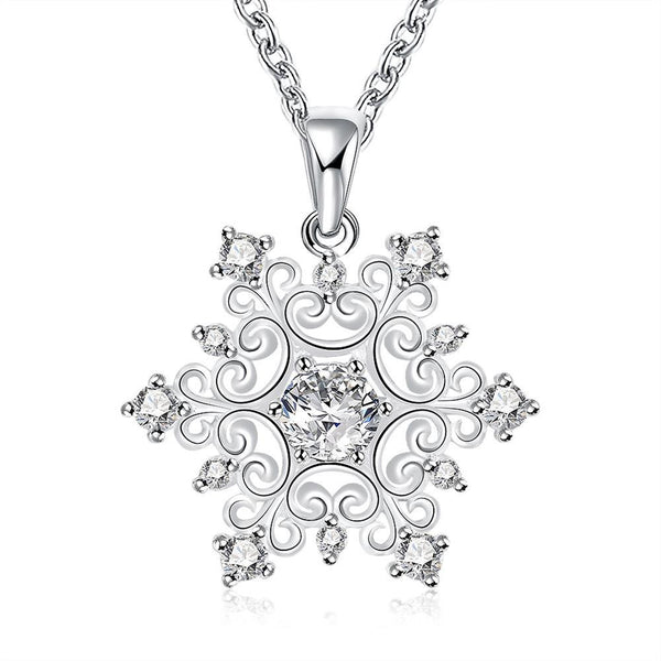 18K White Gold Plated Swarovski Crystal Snowflake Necklace
