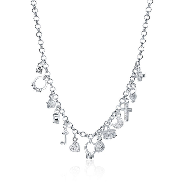 18K White Gold Plated Swarovski Crystal Charms Necklace
