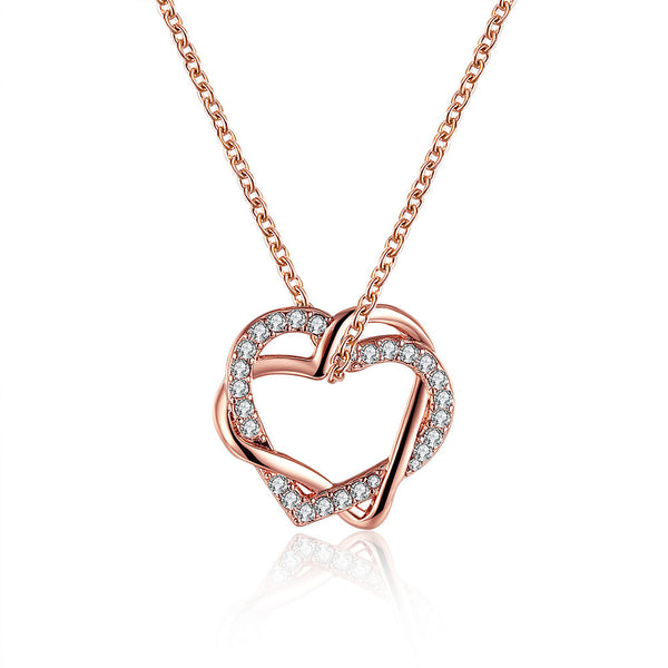 Rose Gold Plated Double Heart Interlock Crystal Necklace