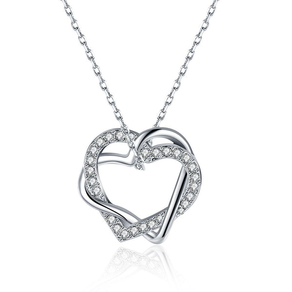 18K White Gold Plated Swarovski Crystal Double Heart Necklace