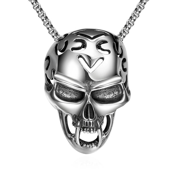 Skull Helmet Emblem Stainless Steel Necklace