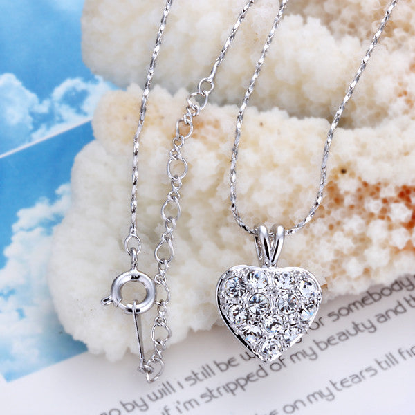 18K White Gold Plated Petite Crystal Heart Necklace