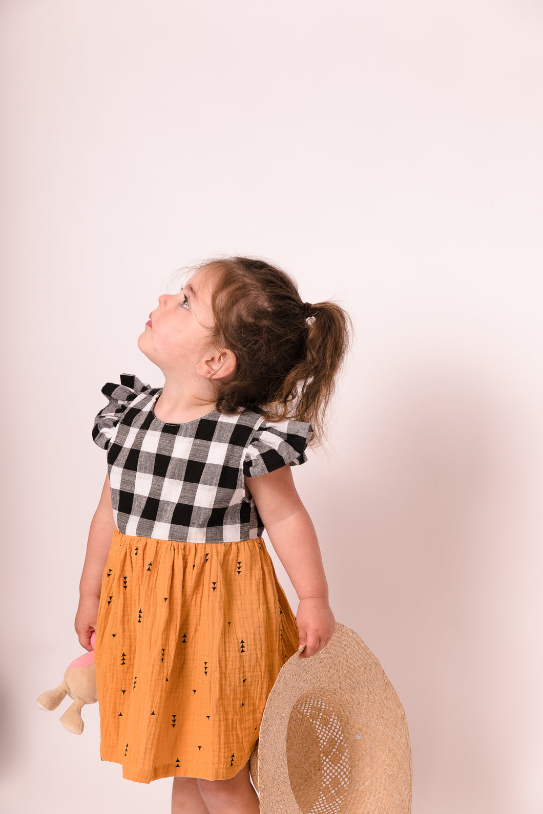 Gingham flutter dress