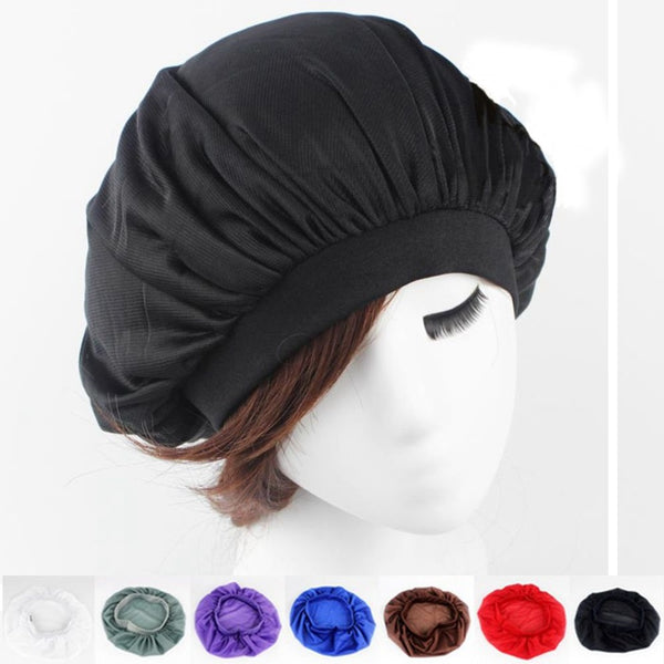 1PC Fashion Girl Night Sleep Hat Women Long Hair Care Cap Turban Satin Bonnet Cap Head Wrap Cover Headscarf Hair Accessories