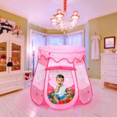 Hengda Klappbar Spielzelt Pink Kinderzelt mit 100 Bällen Marina Pop Up Faltbares Ball-Pool-Cottage