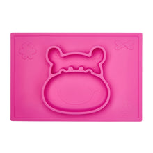 Blush pink suction placemat and plate in a 3D hippo design helps develop baby's pincer grip and grasp.