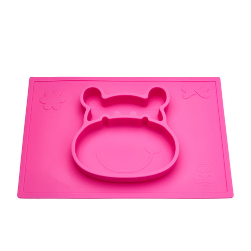 Bright pink suction placemat and plate in a 3D hippo design helps develop baby's pincer grip and grasp