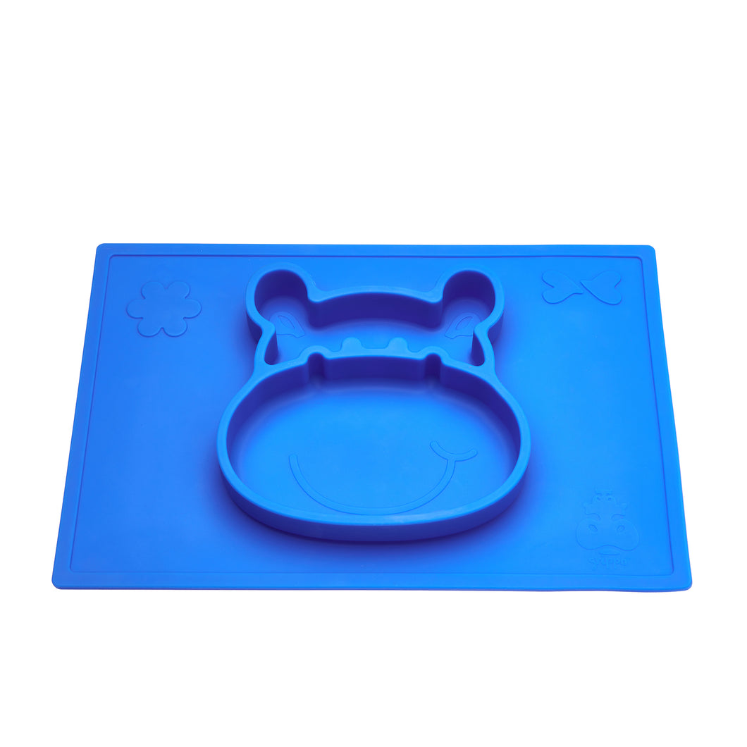 The Grippo hippo-shaped placemat grips to clean, flat surfaces and is indestructible.
