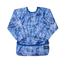 Waterproof PUL apron and bib in a denim blue design.