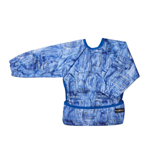 Top quality waterproof apron and bib for baby in a bright and denim design.