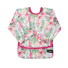 Waterproof PUL apron and bib in a colourful pink design.