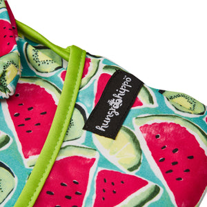 Top quality waterproof bib and apron with catch-all pocket in a beautiful kiwi design.