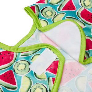 Waterproof apron with anti-scratch velcro neck enclosure is amazing for baby.