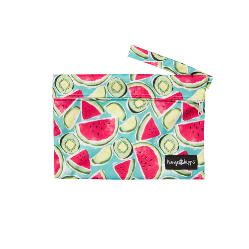Colourful watermelon and kiwi PUL fabric wetbag.