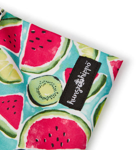 HungrHippo drybags are wetbags that are top quality and are available in a watermelon and kiwi fabric print.