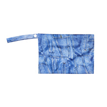 HungrHippo drybags are wetbags that are top quality and are available in a denim blue fabric print.