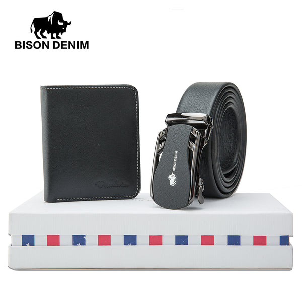 Men's Belts Bison Denim Mens Belt Gift Box With Fashion Wallet Genuine Leather Male Belts Pin Buckle Strap Purse Set Gift For Men N4429 100% High Quality Materials