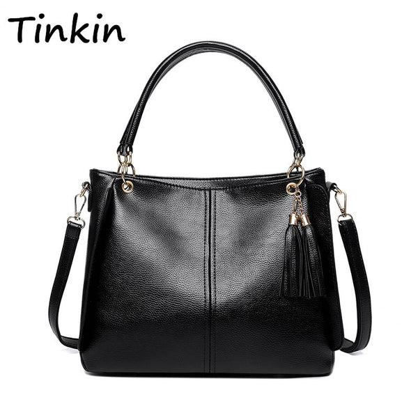 52f078585246 ... Tinkin Women Vintage PU Tassel Handbag Female Casual Daily Shoulder Bag  Elegant Shopping Messenger Bag All