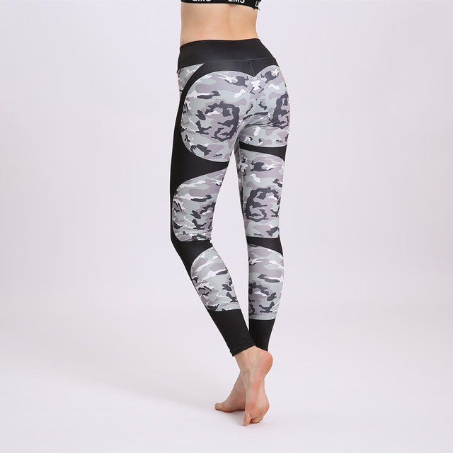 Print patchwork yoga leggings