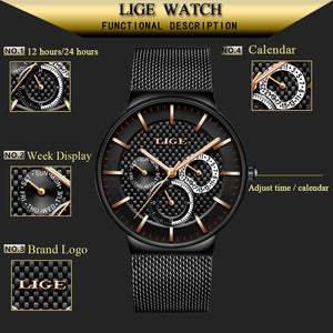 LIGE Water Proof Ultra Thin Stylish Watch For Men