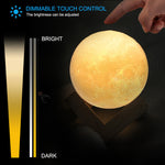 Rechargeable 3D Print Brightness Control Moon Lamp