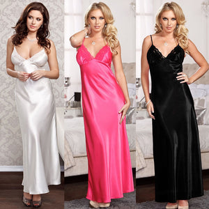 Sexy Satin Long Silk Lingerie Nightgown Sleeveless