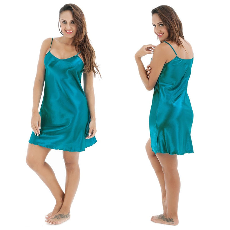 Blue Oversize Female Satin Rayon Nightgown Sleeveles Sleepwear Nightwear