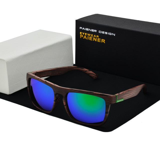Polarized Retro Wood Color Sunglasses For Men