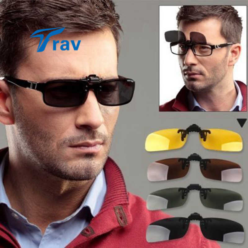 Polarized UV 400 Protected Night Vision Clip-on Flip-up Lens Sunglasses