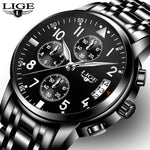 LIGE Luxury Brand Full Steel Waterproof Watch
