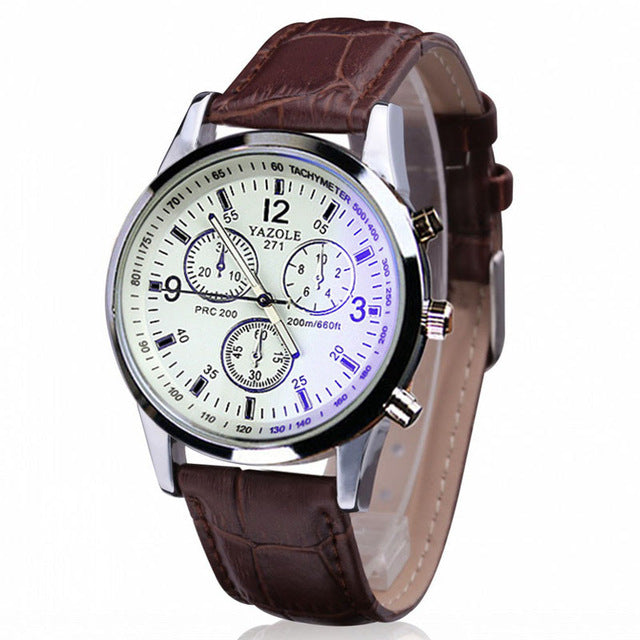 Fashion Faux Leather Mens Analog Quarts Watch Blue Ray