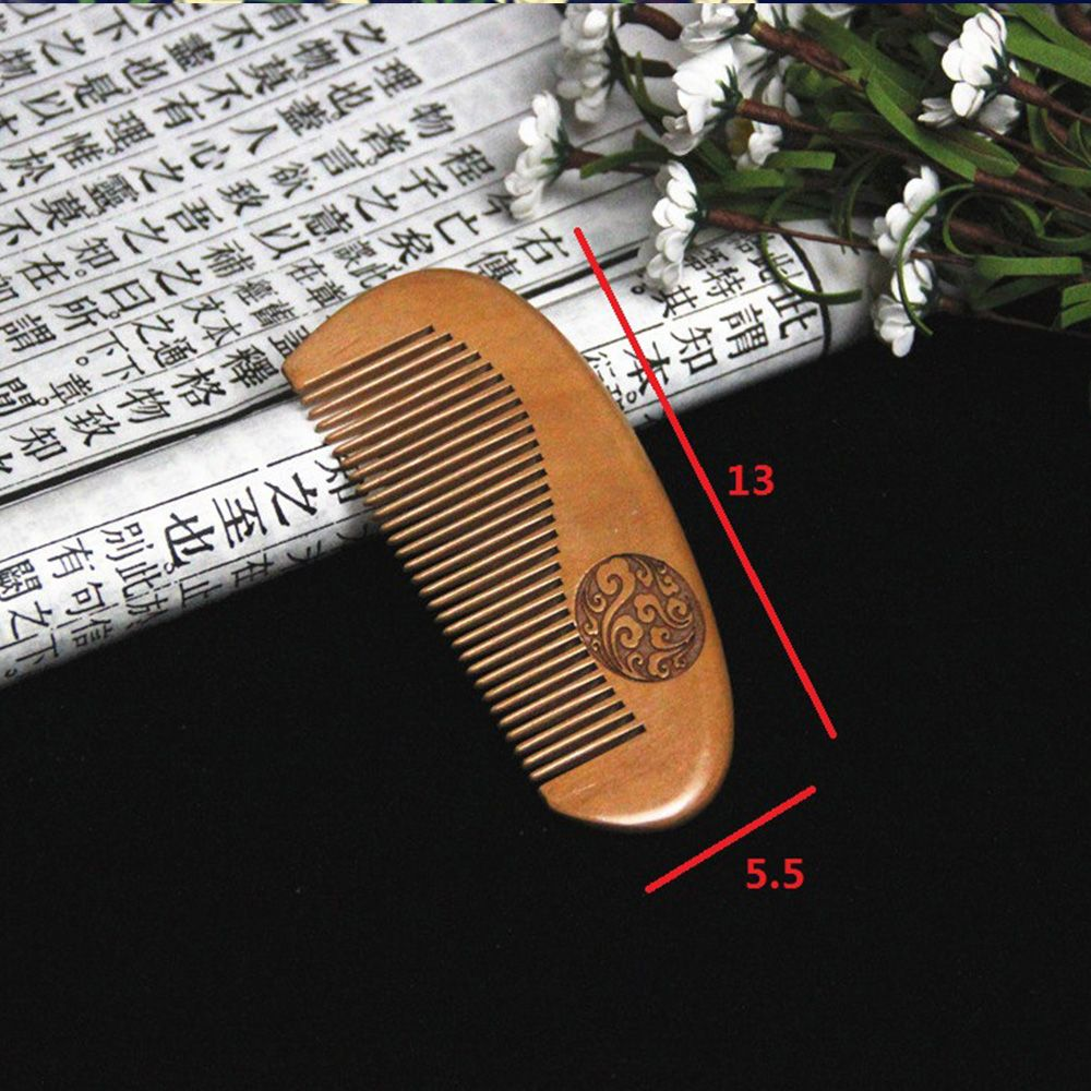 1 Pc Natural Peach Wood Comb Close Teeth Anti-static Head Massage