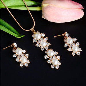 Elegant Simulated Pearl Jewelry Set Leaf Crystal Gold Silver Plated Necklaces & Earrings Set