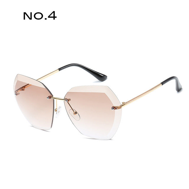 Square Rimless Diamond cutting Sunglasses