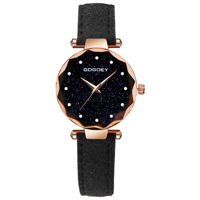 Luxury Brand starry sky  Leather Wrist Watch